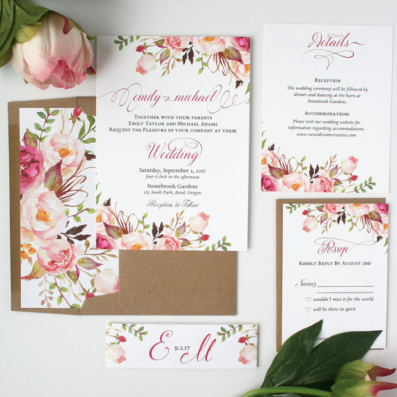Blush Floral Spring Wedding Invitations