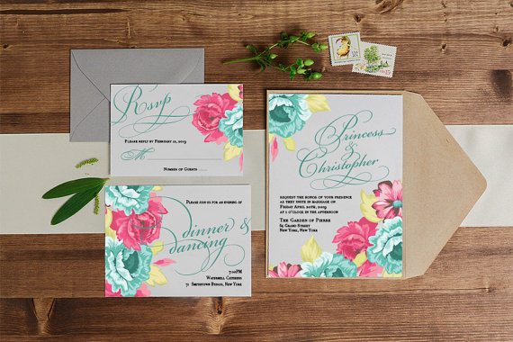 Vibrant Floral Spring Wedding Invitations