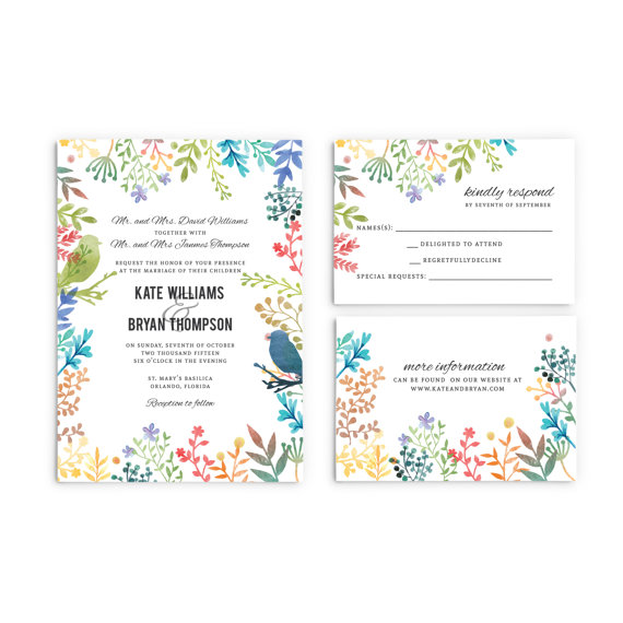 Watercolor Floral Spring Wedding Invitations