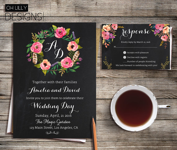 Floral Chalkboard Spring Wedding Invitations