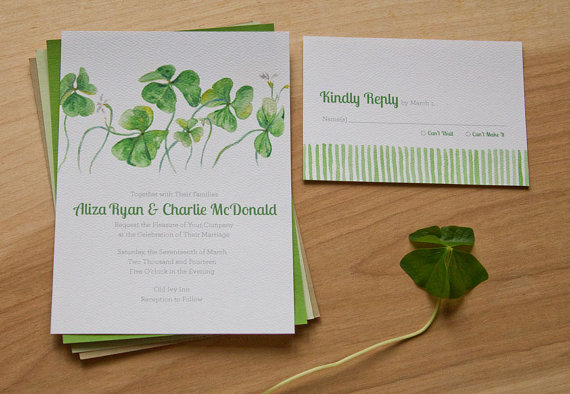 Watercolor Clover Spring Wedding Invitations