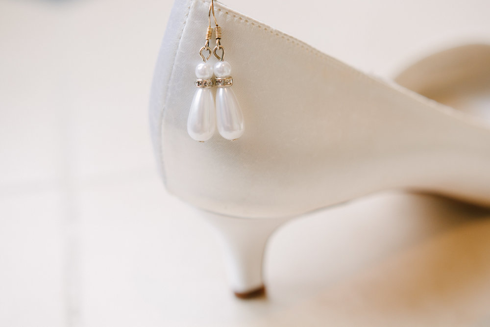 Pearl Bridal Tear Drop Earrings - A Simple Purple + White Wedding by From Britt's Eye View