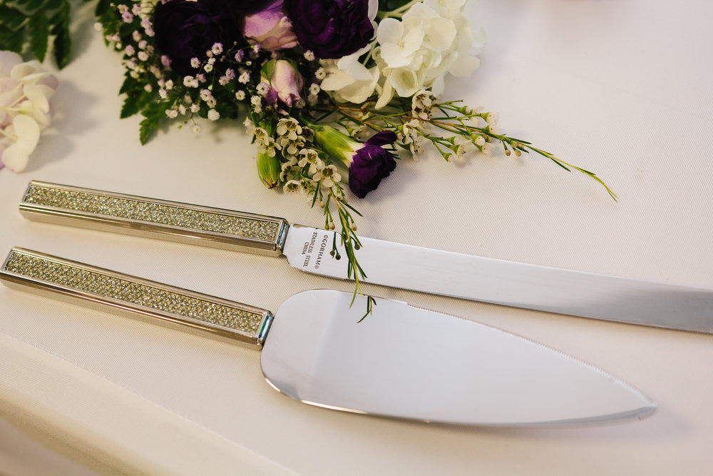 Crystal Handle Cake Knife + Server - Wedding Programs - A Simple Purple + White Wedding by From Britt's Eye View