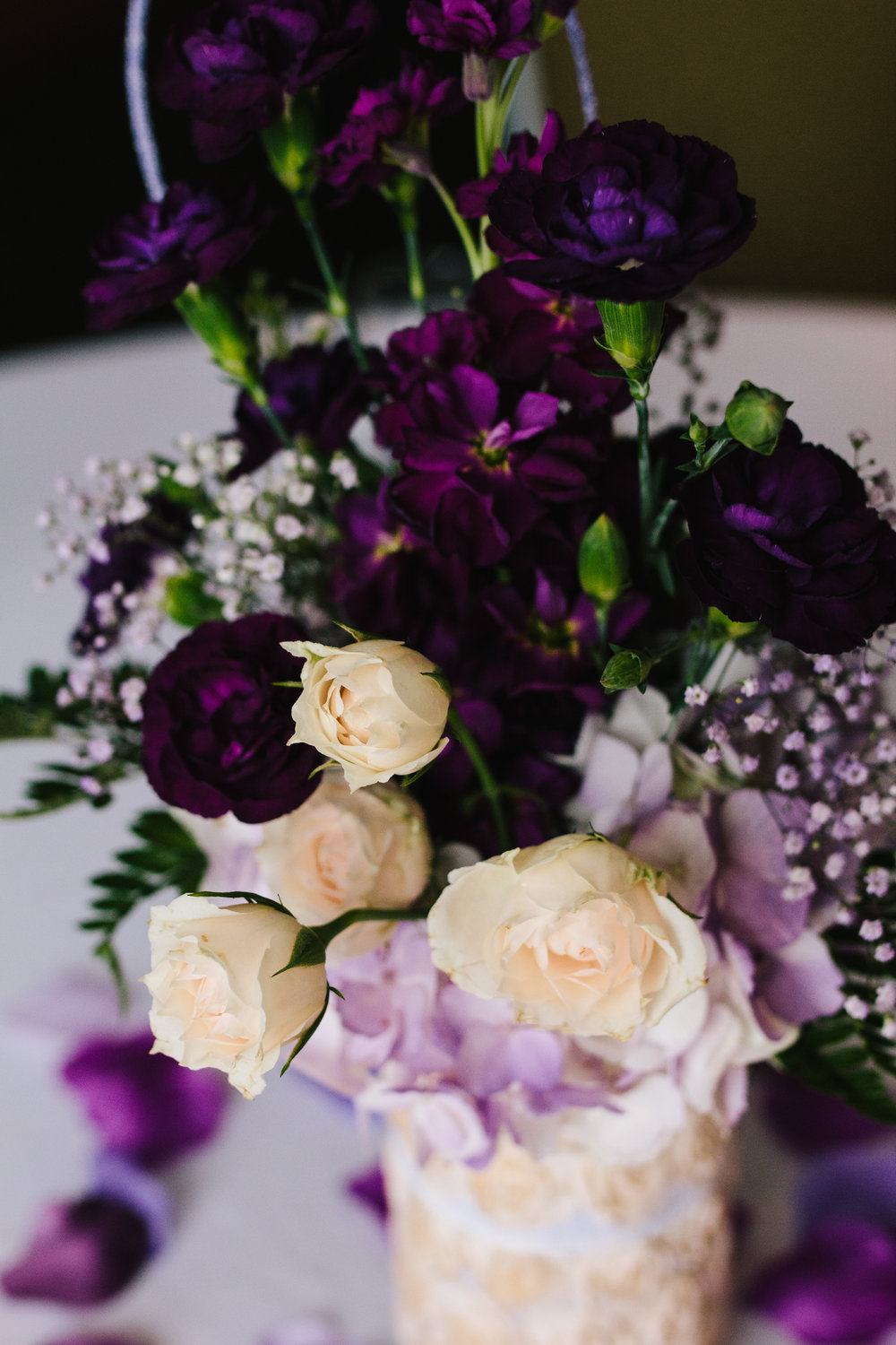 Simple Purple + White Wedding Centerpieces - A Simple Purple + White Wedding by From Britt's Eye View