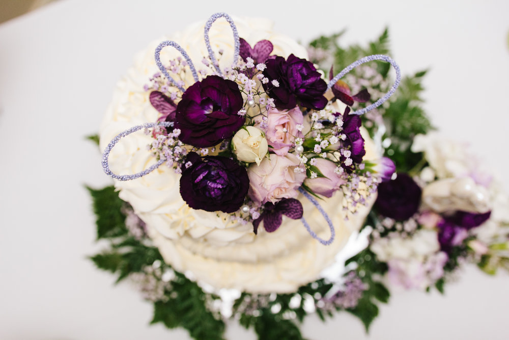 Simple White Wedding Cake - A Simple Purple + White Wedding by From Britt's Eye View