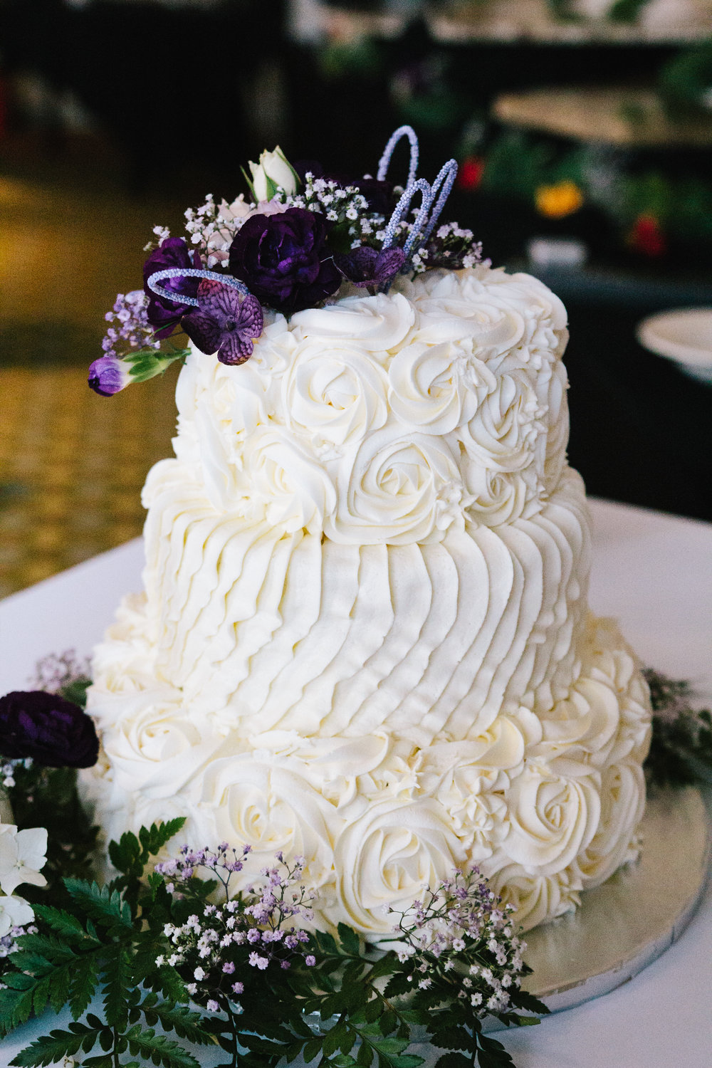 Simple White Textured Wedding Cake - A Simple Purple + White Wedding by From Britt's Eye View
