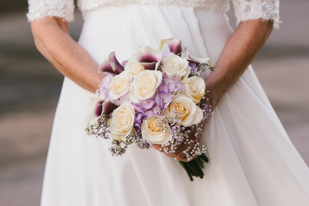 Purple and White Rose Wedding Bouquet - A Simple Purple + White Wedding by From Britt's Eye View