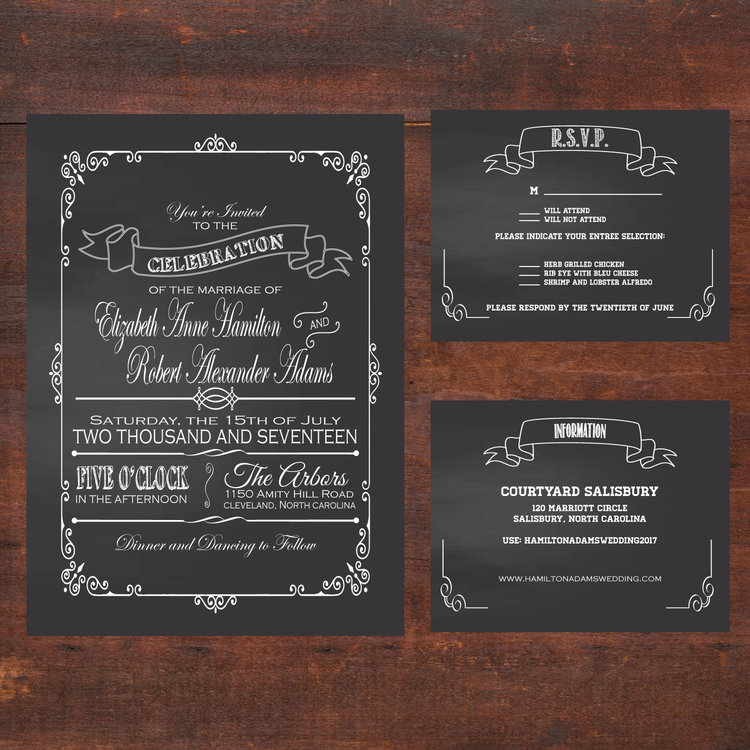 Chalkboard Wedding Invitation Suite