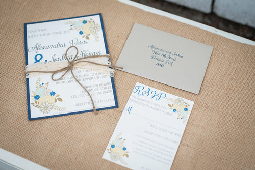 Rustic Floral Wedding Invitation Suite