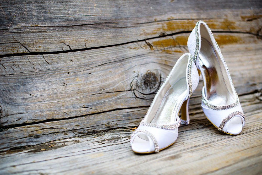 White Crystal Bridal Heels - A San Mortiz Lodge Fairytale Mountain Wedding - Paul Douda Photography