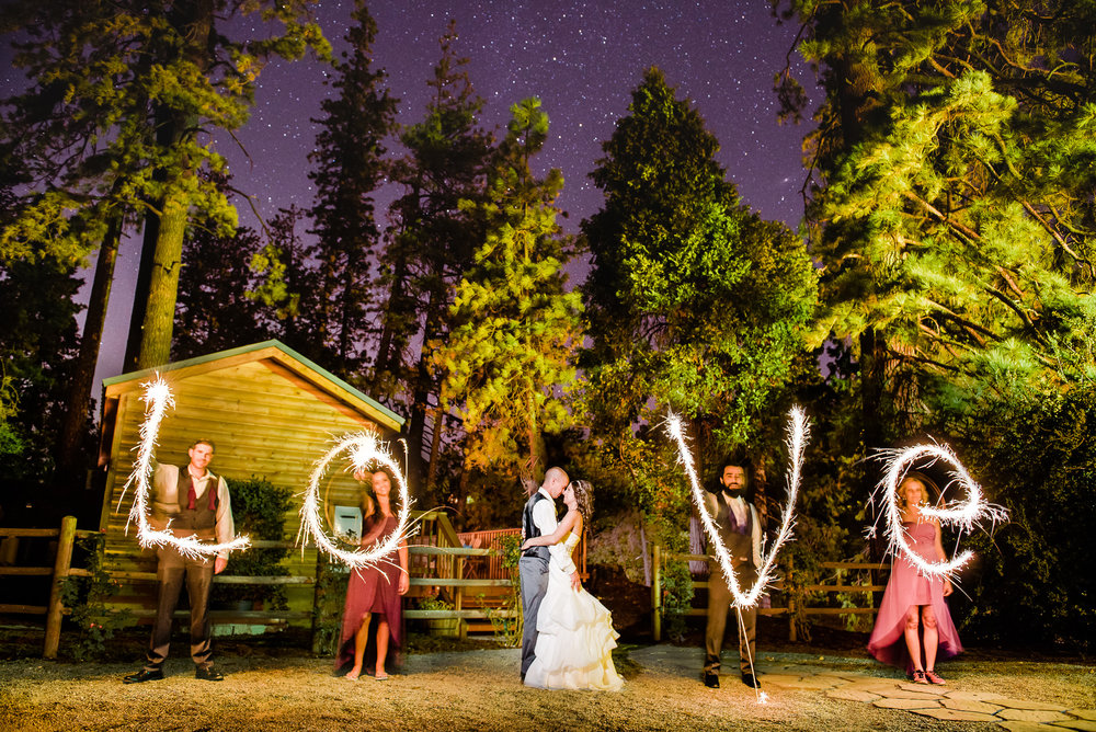 Sparkler Letters Photo - A San Mortiz Lodge Fairytale Mountain Wedding - Paul Douda Photography