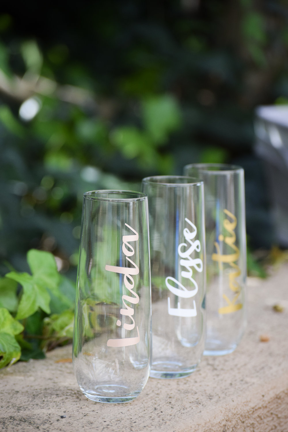 Bridesmaid Gift Idea - Kiloh + Co - Custom Stemless Bridesmaid Champagne Glasses