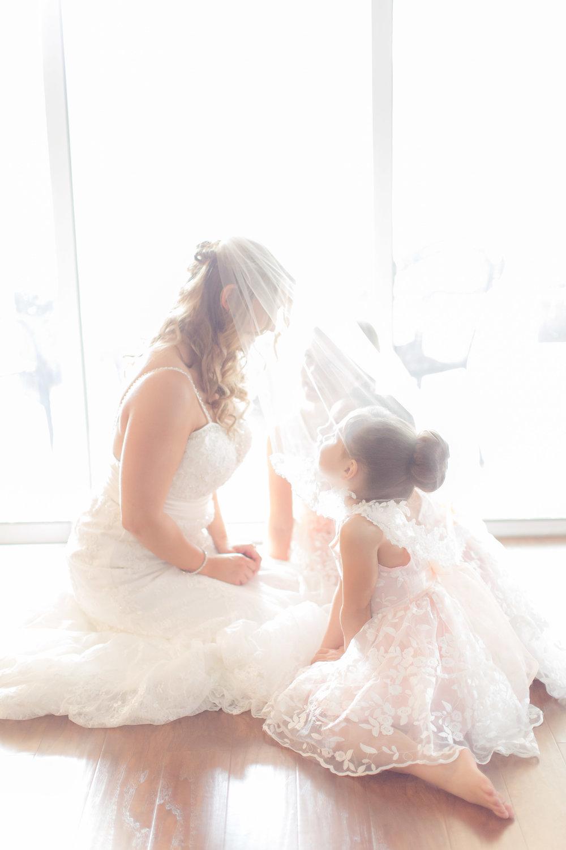 Adorable Bride and Flower Girl Photos - A DeLand, Florida DIY Backyard Wedding