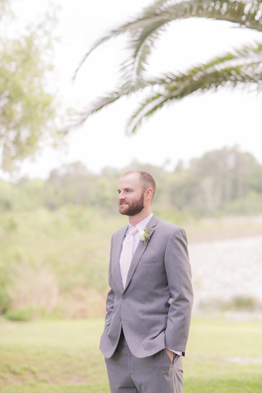 Grey Groom Suit - A DeLand, Florida DIY Backyard Wedding