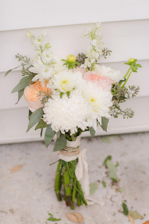 Blush and White Wedding Bouquet - A DeLand, Florida DIY Backyard Wedding