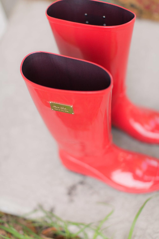 Bridal Rain Boots - A DeLand, Florida DIY Backyard Wedding