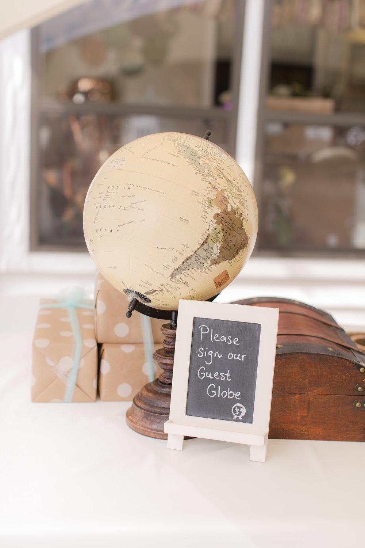 Unique Globe Wedding Guest Book - A DeLand, Florida DIY Backyard Wedding