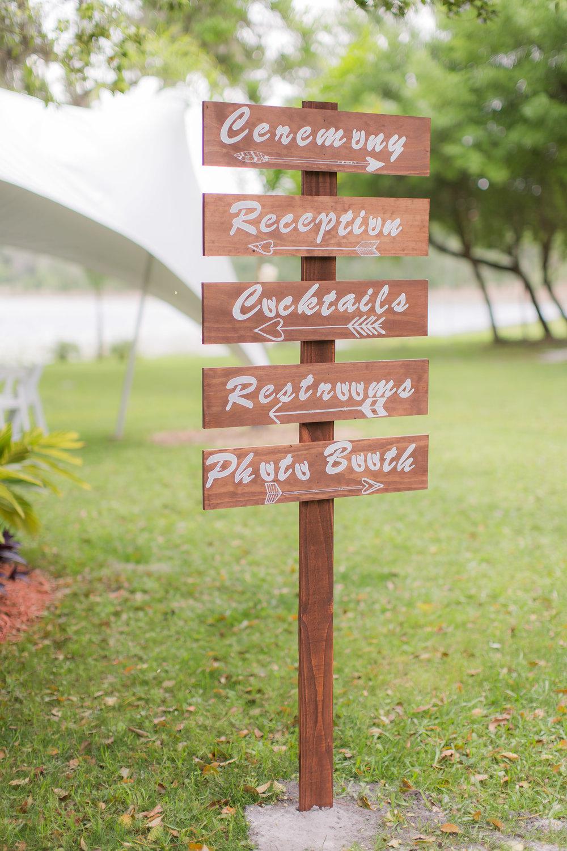 Wooden Wedding Directional Signs -A DeLand, Florida DIY Backyard Wedding