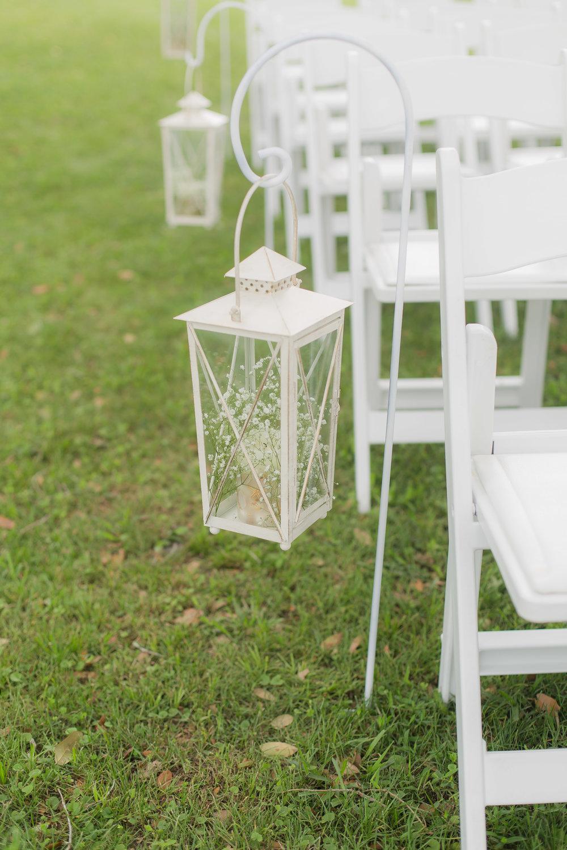 White Lantern Wedding Ceremony Decor - A DeLand, Florida DIY Backyard Wedding