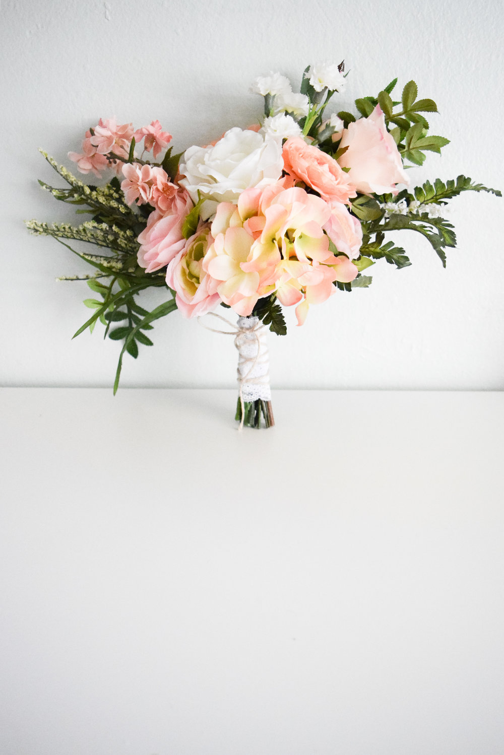 Freshly-Gathered Style Artificial Silk Wedding Bouquet -- Petal and Twine
