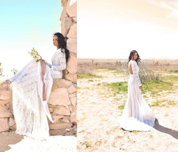 Boho Lace Low Back Wedding Dress