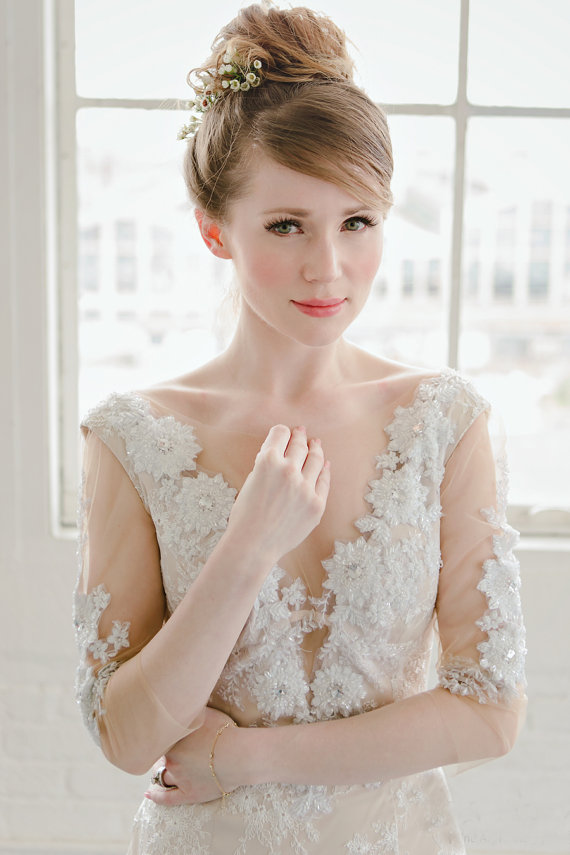 Embellished Illusion Neckline Low Back Wedding Dress