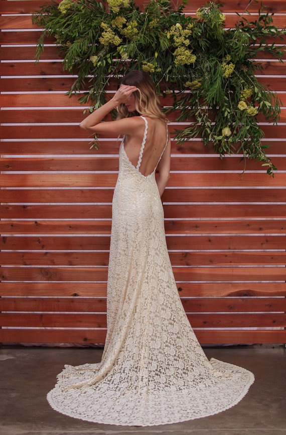 36 low back wedding dresses the overwhelmed bride wedding blog ivory lace low back wedding dress junglespirit Image collections