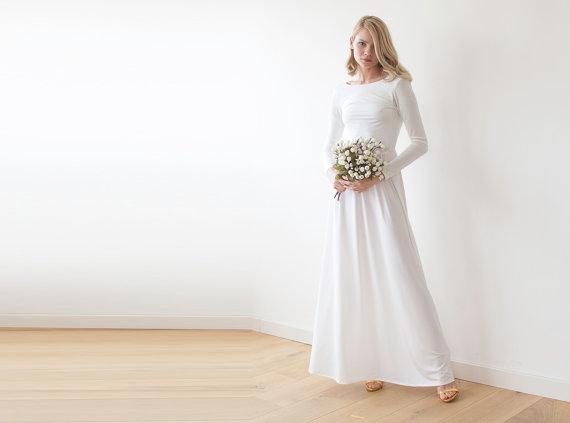 Simple Long Sleeve Low Back Wedding Dress