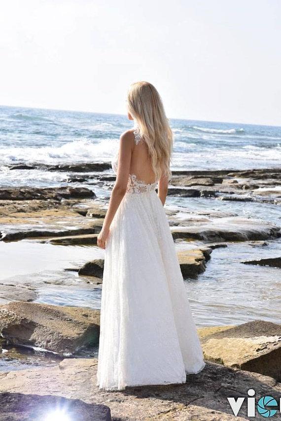 Flowy Lace Low Back Wedding Dress