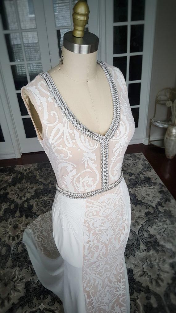 Art Deco Low Back Wedding Dress