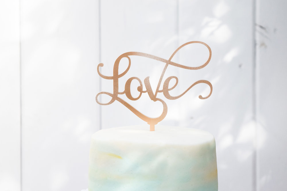 Simple Laser Cut Wedding Cake Toppers
