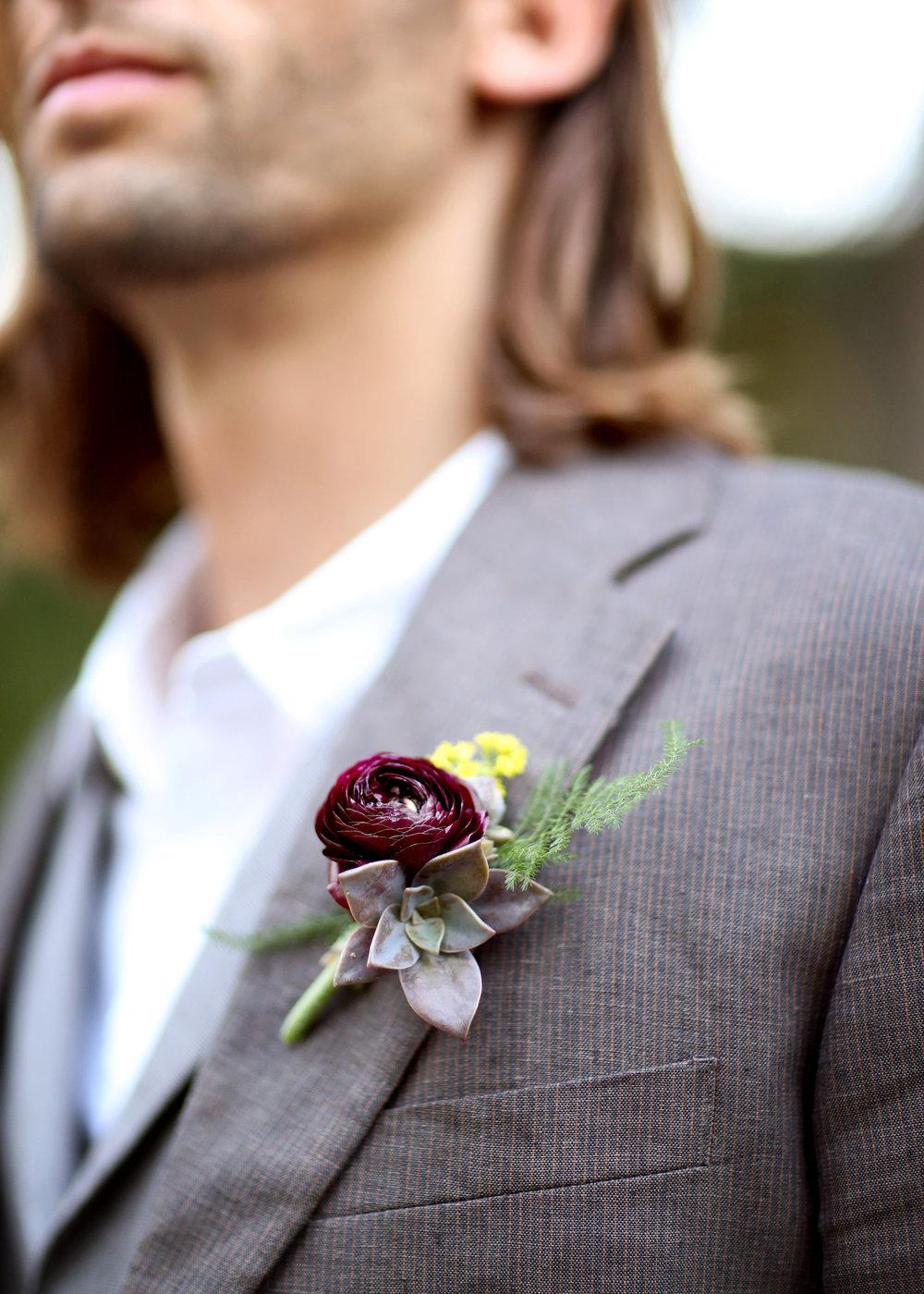 Boho Succulent Boutonniere - A Modern Bohemian Outdoor Wedding Shoot - Bleudog Fotography