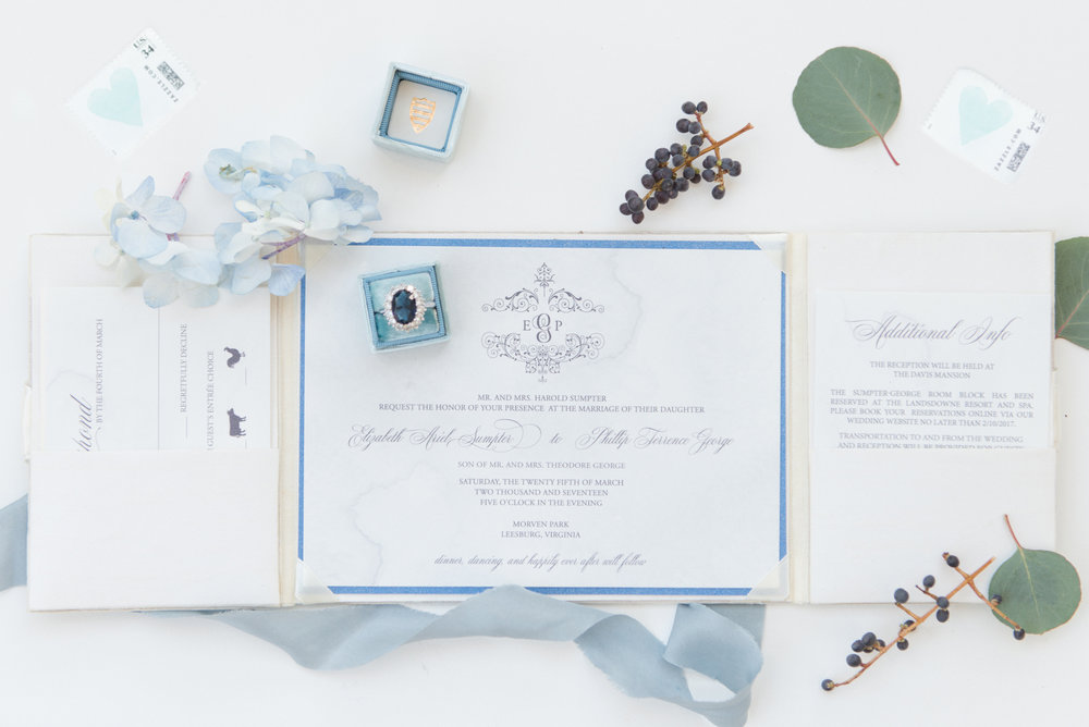 Blue and Gold Wedding invitations - Blue and Gold Morven Park Styled Virginia Wedding -- JOFFOTO