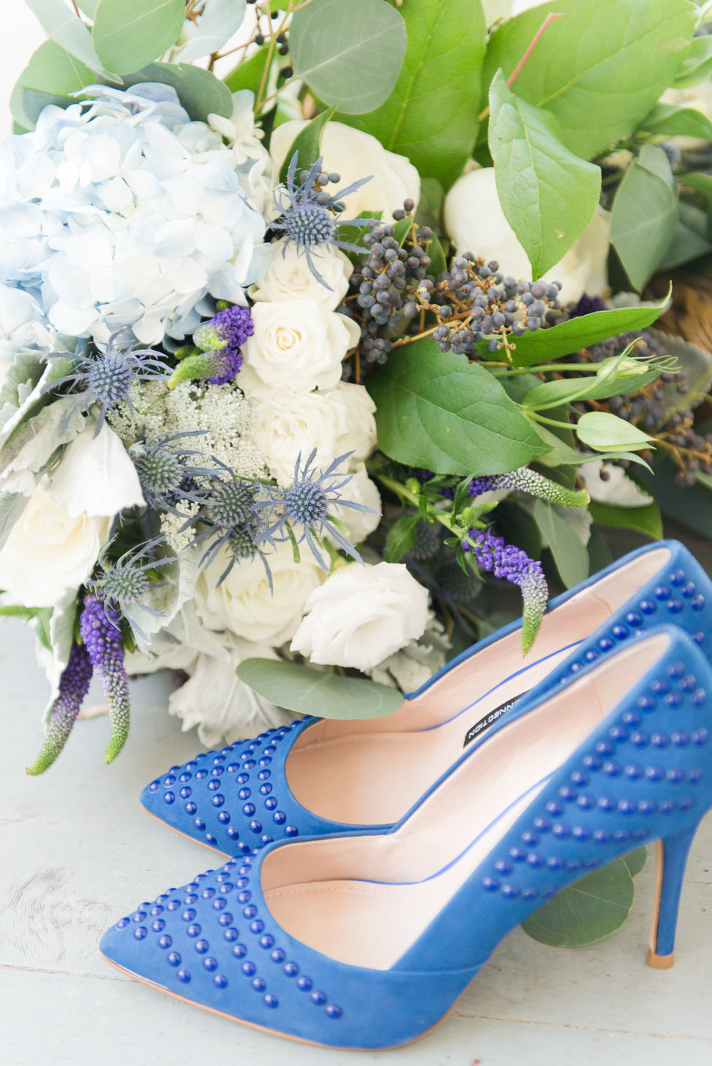 Blue bridal heels - Blue and Gold Morven Park Styled Virginia Wedding -- JOFFOTO