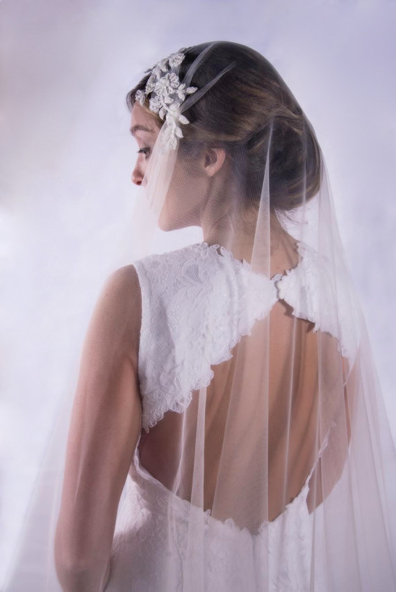 Simple Cathedral Length Long Bridal Veil