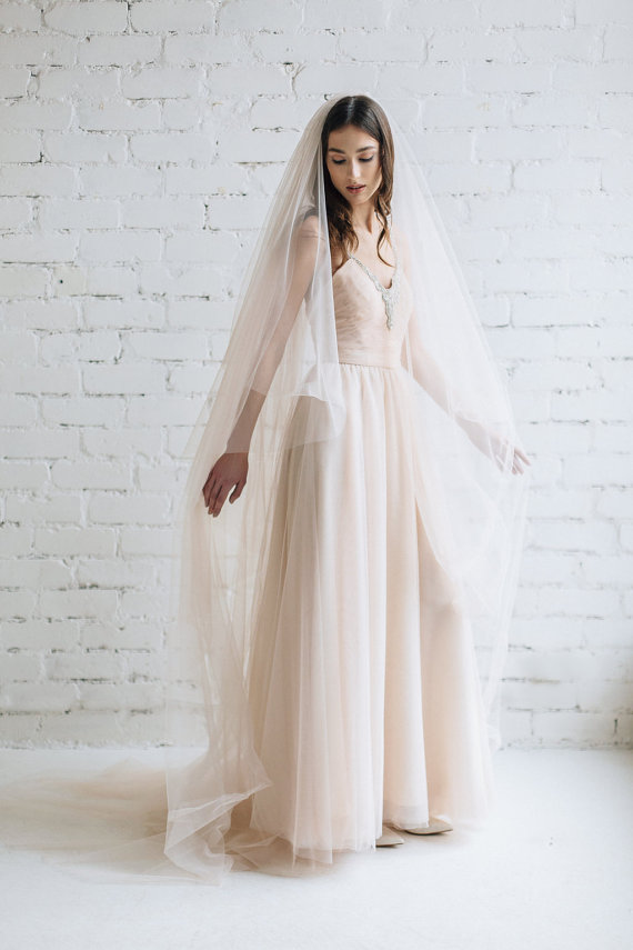 Blush Cathedral Length Long Bridal Veil