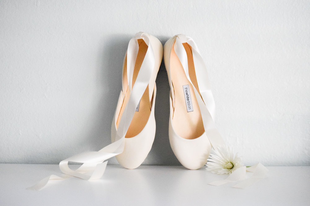White Bridal Ballet Flats by The White Ribbon