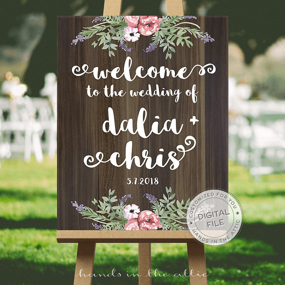 Unique Summer Wedding Signs 5 - wooden and floral wedding welcome sign