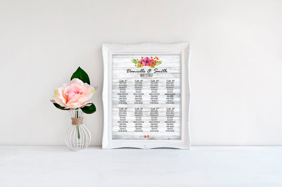Unique Summer Wedding Signs 8 - floral wedding seating chart