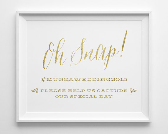 Unique Summer Wedding Signs 21 - gold hashtag wedding sign