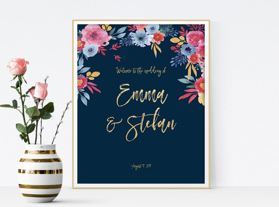 Unique Summer Wedding Signs 24 - navy and floral wedding welcome sign
