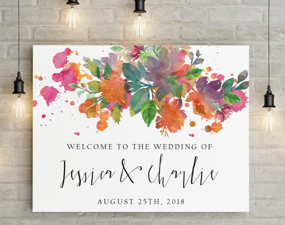 Unique Summer Wedding Signs 28 - wedding watercolor floral welcome sign