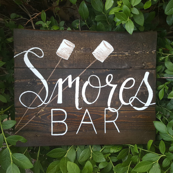 Unique Summer Wedding Signs 30 - wooden smore bar wedding sign