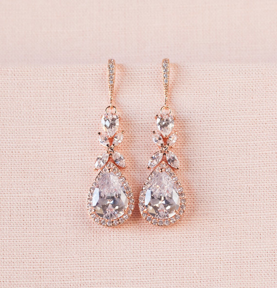 Rose Gold Bridal Earrings