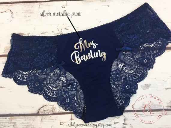 Personalized Navy Blue Honeymoon Lace Underwear
