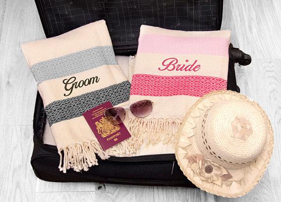 Bride and Groom Honeymoon Beach Towels