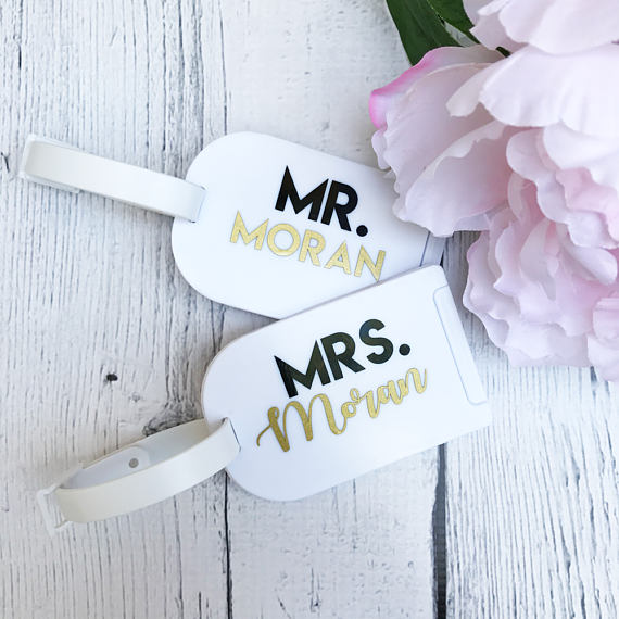 Honeymoon Essentials - Mr and Mrs Honeymoon Luggage Tags