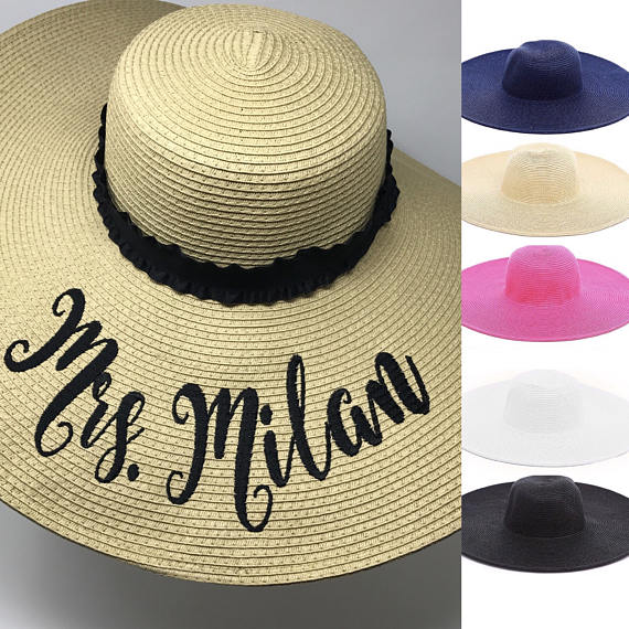 Honeymoon Essentials - Personalized Colorful Mrs Floppy Sun Hat