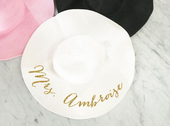 Honeymoon Essentials - Honeymoon Personalized Sun Gold Writing Floppy Hat