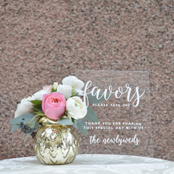 Acrylic Wedding Favor Sign